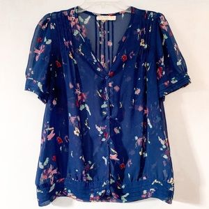 Urban Outfitters Sheer Blue Floral Button Top